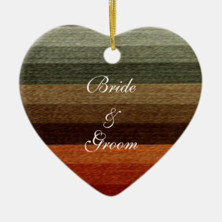 Vintage Wedding, Warm Autumn Stripes Pattern Christmas Ornament