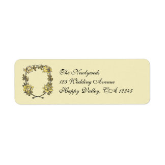 Vintage Wedding, Yellow Antique Garden Rose Wreath Return Address Label