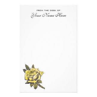 Vintage Wedding, Yellow Antique Garden Rose Wreath Stationery