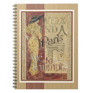 Vintage Weekend in Paris 1924 Arc de Triomphe Spiral Notebook