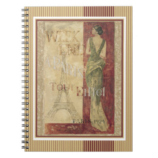 Vintage Weekend in Paris 1924 Eiffel Tower Spiral Notebook