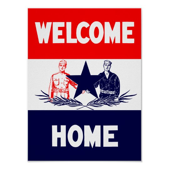 Vintage Welcome Home Military Print