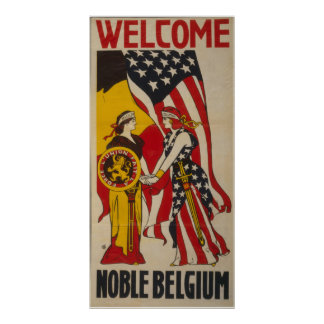 Vintage Welcome Noble Belgium Poster