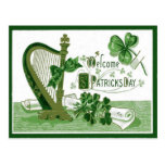 Vintage Welcome Shamrock Harp St Patrick's Day Post Cards