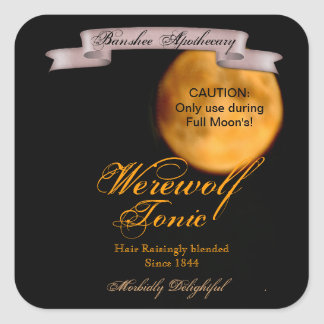 Vintage Werewolf Tonic Halloween Bottle Stickers