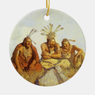 Vintage West, Guardians War or Peace by NC Wyeth Round Ceramic Decoration