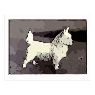 Vintage West Highland White Cartoon Style Postcard