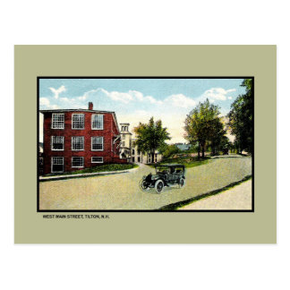 Vintage West Main Street, Tilton New Hampshire Postcard