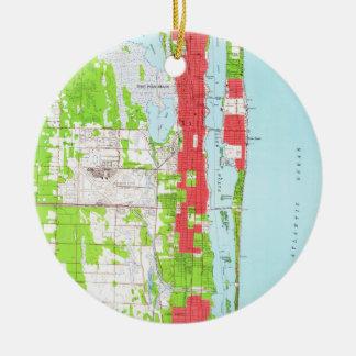 Vintage West Palm Beach & Palm Beach FL Map (1946) Christmas Ornament