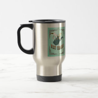 Vintage West Virginia State Map – Turquoise Blue Stainless Steel Travel Mug