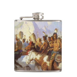 Vintage Western Art, Indian War Party by NC Wyeth Hip Flask