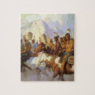 Vintage Western Art, Indian War Party by NC Wyeth Jigsaw Puzzle