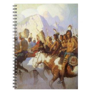 Vintage Western Art, Indian War Party by NC Wyeth Spiral Notebook