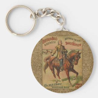 Vintage Western Buffalo Bill Wild West Show Poster Key Ring
