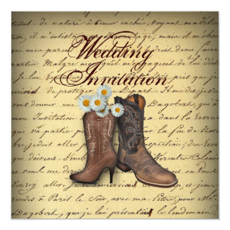 vintage western country cowboy wedding card