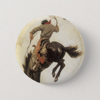 Vintage Western, Cowboy on a Bucking Bronco Horse 6 Cm Round Badge