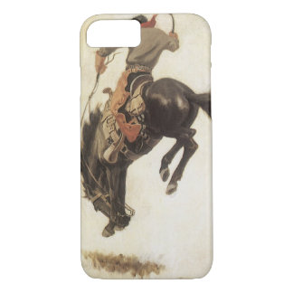Vintage Western, Cowboy on a Bucking Bronco Horse iPhone 8/7 Case