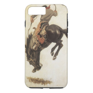 Vintage Western, Cowboy on a Bucking Bronco Horse iPhone 8 Plus/7 Plus Case