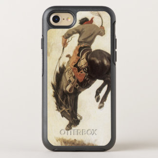 Vintage Western, Cowboy on a Bucking Bronco Horse OtterBox Symmetry iPhone 8/7 Case