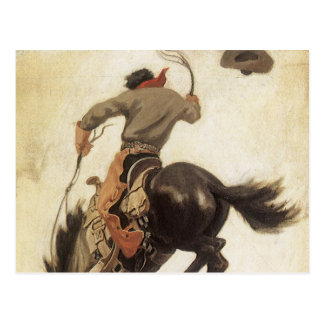 Vintage Western, Cowboy on a Bucking Bronco Horse Postcard
