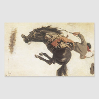 Vintage Western, Cowboy on a Bucking Bronco Horse Rectangular Sticker