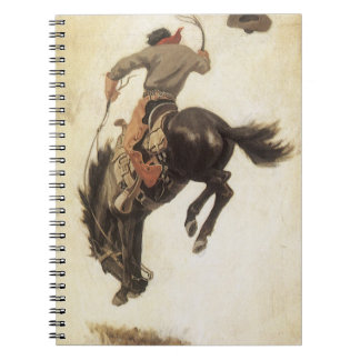 Vintage Western, Cowboy on a Bucking Bronco Horse Spiral Notebook