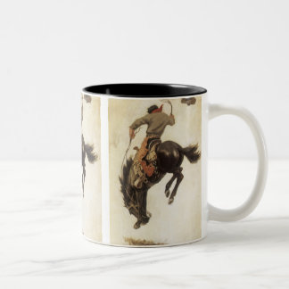 Vintage Western, Cowboy on a Bucking Bronco Horse Two-Tone Coffee Mug