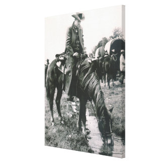 Vintage Western Cowboy On Trail Ride Horse Wagons Canvas Print