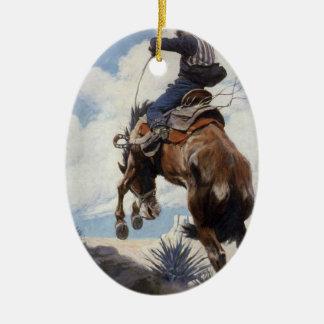 Vintage Western Cowboys, Bucking by NC Wyeth Christmas Ornament