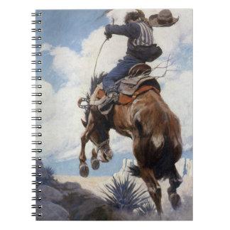 Vintage Western Cowboys, Bucking by NC Wyeth Note Book