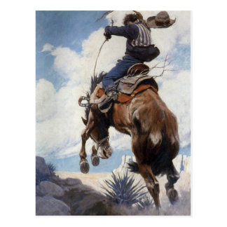 Vintage Western Cowboys, Bucking by NC Wyeth Postcard