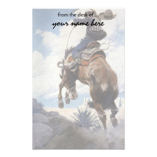 Vintage Western Cowboys, Bucking by NC Wyeth Stationery Design