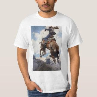 Vintage Western Cowboys, Bucking by NC Wyeth T-Shirt