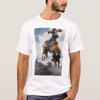 Vintage Western Cowboys, Bucking by NC Wyeth T-Shirt