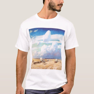 Vintage Western Cowboys, Covered Wagons by Wyeth T-Shirt