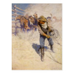 Vintage Western Cowboys, In the Corral by NC Wyeth Postcard