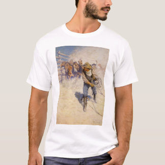 Vintage Western Cowboys, In the Corral by NC Wyeth T-Shirt