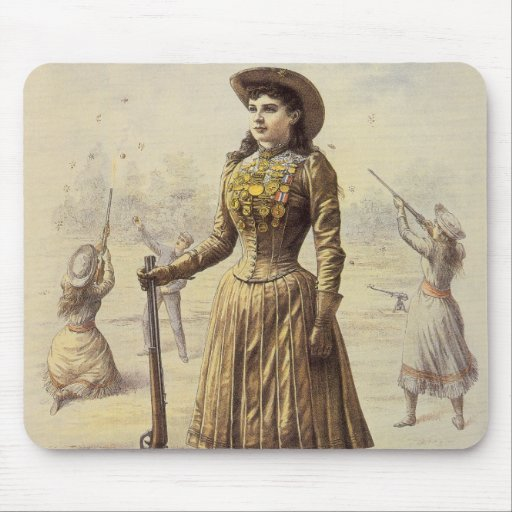 Vintage Western Cowgirl Miss Annie Oakley Mouse Pad