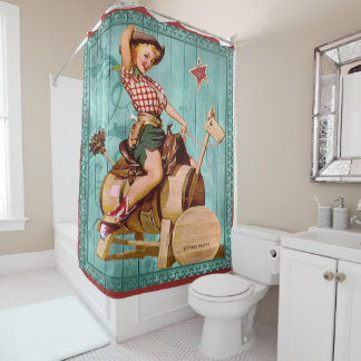 Vintage Western Cowgirl On Wooden Horse Shower Curtain