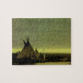 Vintage Western, Indian Camp at Dawn by Tavernier Jigsaw Puzzle
