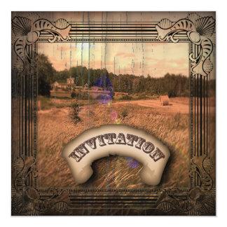 Vintage Western Rustic Country Wedding Invitation