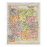Vintage Western States Map Poster