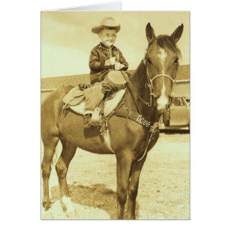 Vintage Western Young Cowboy On Horse Card