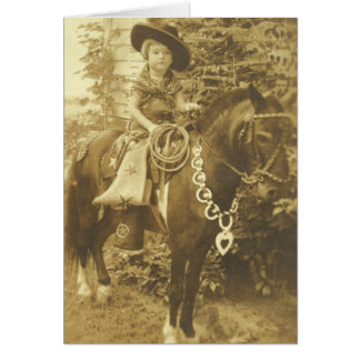 Vintage Western Young Cowgirl On Horse Card