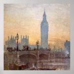 Vintage Westminster Bridge Big Ben London England Poster