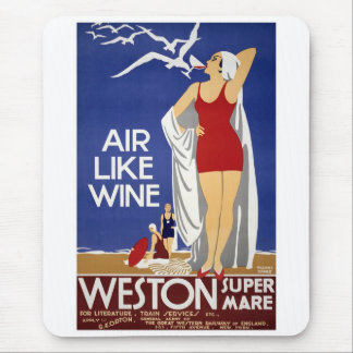 Vintage Weston Travel Poster Mouse Mat