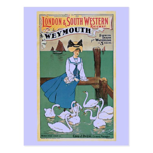 Vintage Weymouth London and SW Railway ad Post Cards