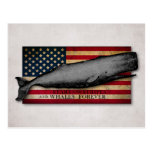 Vintage Whale and US Flag Whales Forever Patriotic Postcard