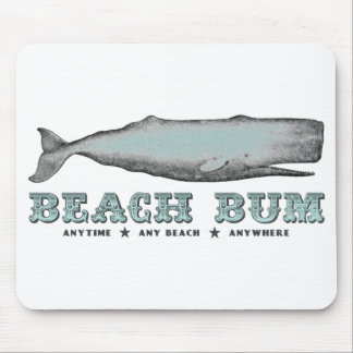Vintage Whale Beach Bum Anytime Any Beach Anywhere Mouse Mat