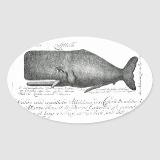 Vintage Whale Design Oval Sticker